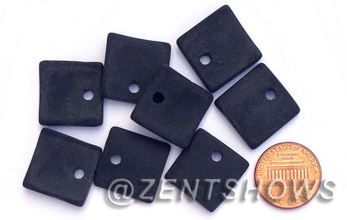 Cultured Sea Glass concave small square Pendants  <b>19x16mm</b> 02-Jet Black    per  <b>8-pc-bag</b>