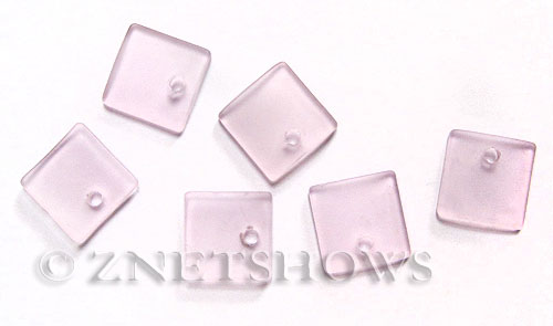 Cultured Sea Glass concave small square Pendants  <b>19x16mm</b> 06-Blossom Pink    per  <b>8-pc-bag</b>