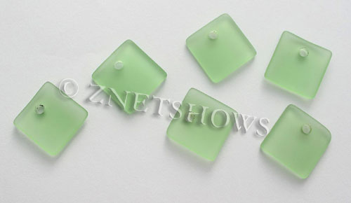 Cultured Sea Glass concave small square Pendants  <b>19x16mm</b> 23-Peridot    per  <b>8-pc-bag</b>
