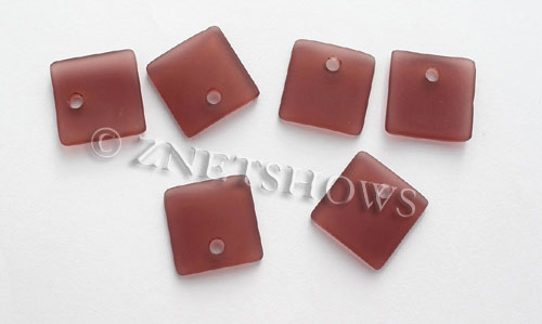 Cultured Sea Glass concave small square Pendants  <b>19x16mm</b> 37-Medium Amethyst    per  <b>8-pc-bag</b>