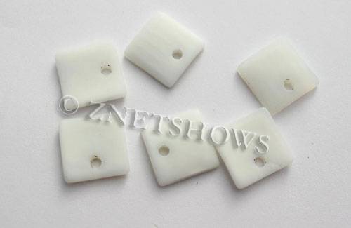 Cultured Sea Glass concave small square Pendants  <b>19x16mm</b> 42-Opaque White    per  <b>8-pc-bag</b>