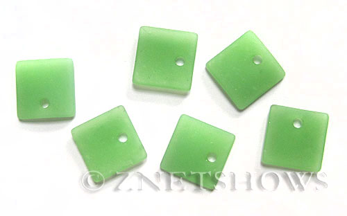 Cultured Sea Glass concave small square Pendants  <b>19x16mm</b> 43-Opaque Seafoam Green    per  <b>8-pc-bag</b>