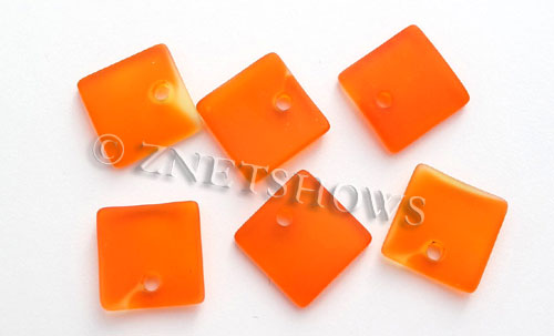 Cultured Sea Glass concave small square Pendants  <b>19x16mm</b> 83-Tangerine    per  <b>8-pc-bag</b>
