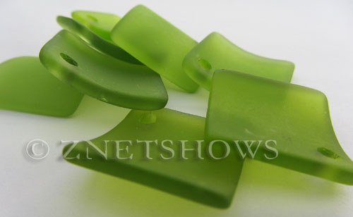 Cultured Sea Glass bottle-curved diamond square Pendants  <b>22x22mm</b> 22-Olive    per  <b>8-pc-bag</b>