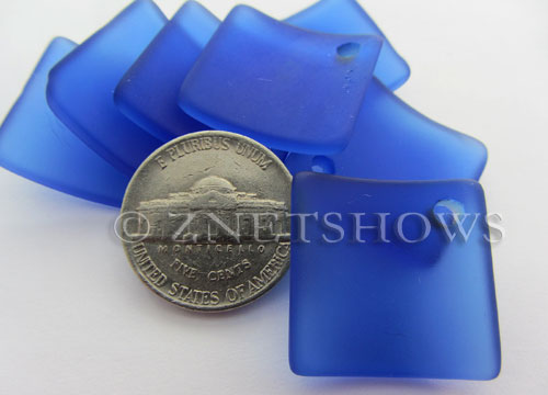 Cultured Sea Glass bottle-curved diamond square Pendants  <b>22x22mm</b> 33-Royal Blue    per  <b>8-pc-bag</b>