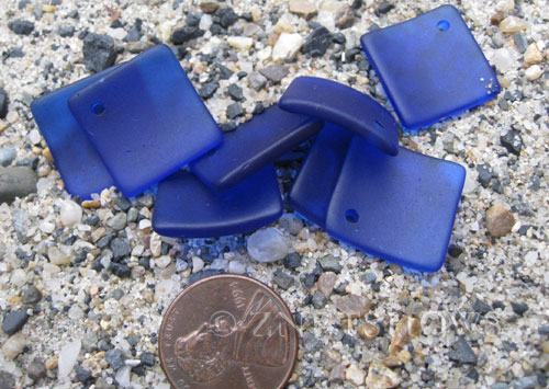 Cultured Sea Glass bottle-curved diamond square Pendants  <b>18x18mm</b> 33-Royal Blue (New and Smaller Size)   per  <b>8-pc-bag</b>