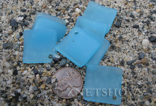 Cultured Sea Glass bottle-curved diamond square Pendants  <b>22x22mm</b> 46-Opaque Blue Opal    per  <b>8-pc-bag</b>