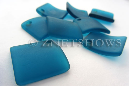 Cultured Sea Glass bottle-curved diamond square Pendants  <b>22x22mm</b> 82-Teal    per  <b>8-pc-bag</b>