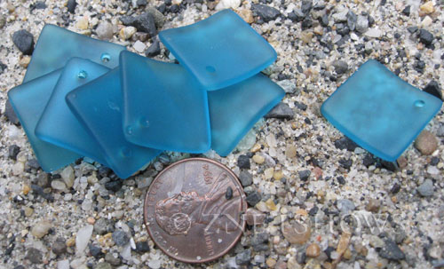 Cultured Sea Glass bottle-curved diamond square Pendants  <b>18x18mm</b> 82-Teal (New and Smaller Size)   per  <b>8-pc-bag</b>