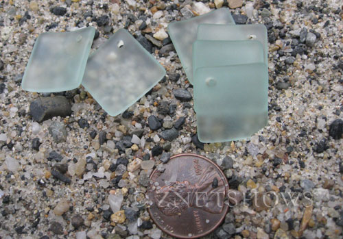 Cultured Sea Glass bottle-curved diamond square Pendants  <b>18x18mm</b> 88-Light Aqua `Coke` bottle Seafoam (New and Smaller Size)   per  <b>8-pc-bag</b>