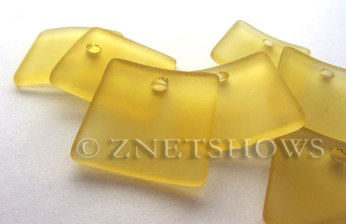 Cultured Sea Glass concaved large square Pendants  <b>22x22mm</b> 16-Desert Gold    per  <b>8-pc-bag</b>