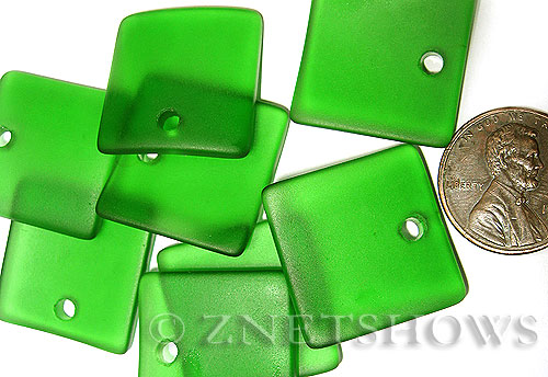 Cultured Sea Glass concaved large square Pendants  <b>22x22mm</b> 25-Shamrock    per  <b>8-pc-bag</b>