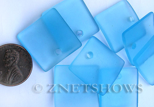Cultured Sea Glass concaved large square Pendants  <b>22x22mm</b> 28-Turquoise Bay    per  <b>8-pc-bag</b>