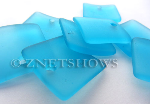 Cultured Sea Glass concaved large square Pendants  <b>22x22mm</b> 30-Pacific Blue    per  <b>8-pc-bag</b>