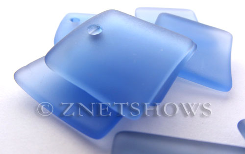 Cultured Sea Glass concaved large square Pendants  <b>22x22mm</b> 31-Light Sapphire    per  <b>8-pc-bag</b>
