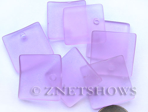 Cultured Sea Glass concaved large square Pendants  <b>22x22mm</b> 39-Periwinkle Changes    per  <b>8-pc-bag</b>
