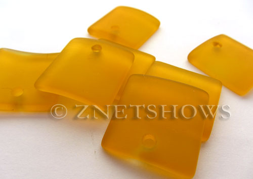 Cultured Sea Glass concaved large square Pendants  <b>22x22mm</b> 57-Saffron Yellow    per  <b>8-pc-bag</b>