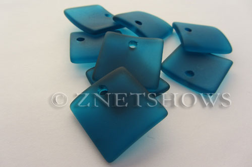 Cultured Sea Glass concaved large square Pendants  <b>22x22mm</b> 82-Teal    per  <b>8-pc-bag</b>