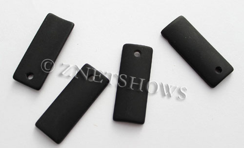 Cultured Sea Glass bottle-curved thin rectangle Pendants  <b>35x14mm</b>  02-Jet Black    per  <b>6-pc-bag</b>