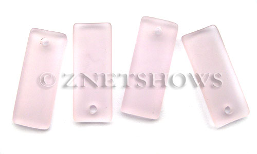 Cultured Sea Glass bottle-curved thin rectangle Pendants  <b>35x14mm</b> 06-Blossom Pink    per  <b>6-pc-bag</b>