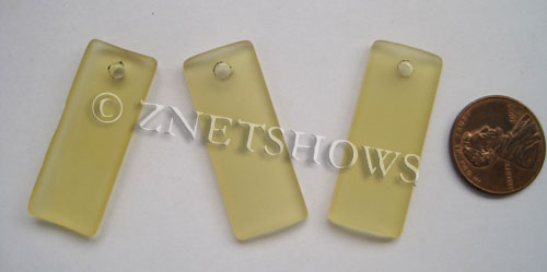 Cultured Sea Glass bottle-curved thin rectangle Pendants  <b>35x14mm</b> 16-Desert Gold    per  <b>6-pc-bag</b>