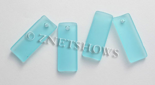 Cultured Sea Glass bottle-curved thin rectangle Pendants  <b>35x14mm</b>  28-Turquoise Bay    per  <b>6-pc-bag</b>