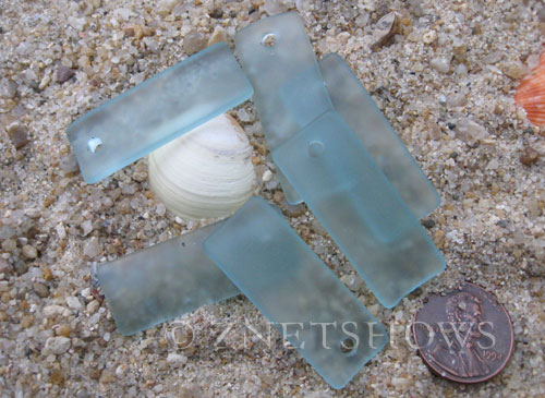 Cultured Sea Glass bottle-curved thin rectangle Pendants  <b>35x14mm</b> 89-Autumn Green    per  <b>6-pc-bag</b>