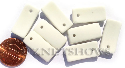 Cultured Sea Glass bottle-curved earring rectangle Pendants  <b>22x11mm</b> 42-Opaque White    per  <b>8-pc-bag</b>