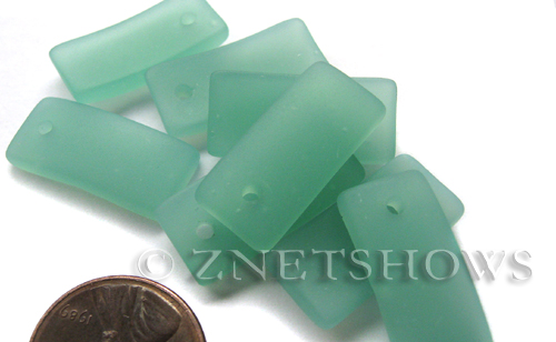 Cultured Sea Glass bottle-curved earring rectangle Pendants  <b>22x11mm</b> 892-Opaque Seafoam Green    per  <b>8-pc-bag</b>