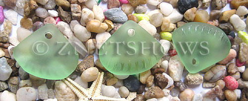 Cultured Sea Glass ridged earring triangle Pendants  <b>24x20mm</b>  23-Peridot    per  <b>6-pc-bag</b>