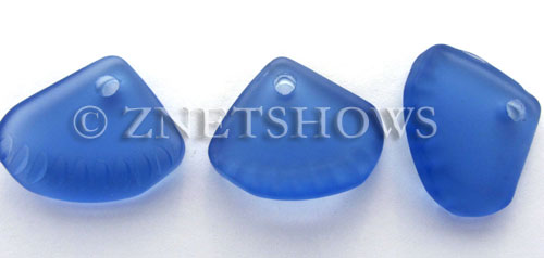 Cultured Sea Glass ridged earring triangle Pendants  <b>24x20mm</b> 31-Light Sapphire    per  <b>6-pc-bag</b>