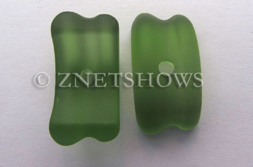 Cultured Sea Glass center-drilled bottle lip-style Pendants  <b>25x13mm</b> 25-Shamrock    per  <b>8-pc-str</b>