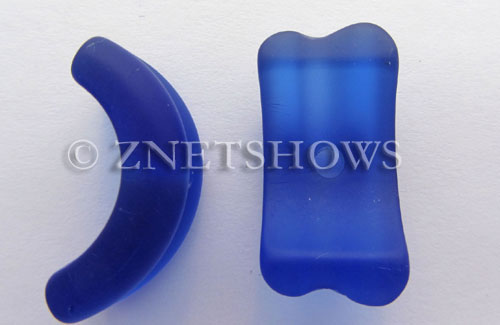 Cultured Sea Glass center-drilled bottle lip-style Pendants  <b>25x13mm</b> 33-Royal Blue    per  <b>8-pc-str</b>
