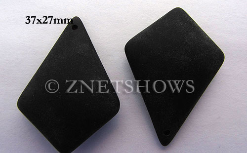 Cultured Sea Glass diamond Pendants  <b>37x27mm</b> 02-Jet Black large size   per  <b>8-pc-bag</b>