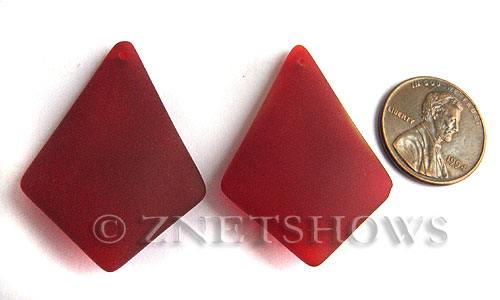 Cultured Sea Glass diamond Pendants  <b>37x27mm</b> 05-Cherry Red large size   per  <b>8-pc-bag</b>