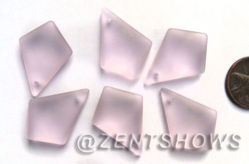 Cultured Sea Glass diamond Pendants  <b>28x20mm</b> 06-Blossom Pink earring size  per  <b>12-pc-bag</b>