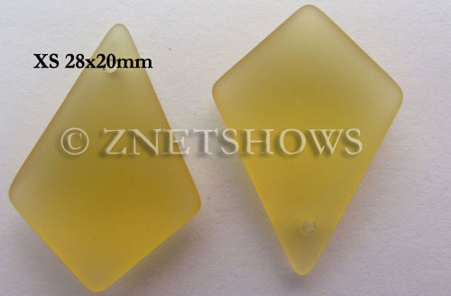 Cultured Sea Glass diamond Pendants  <b>28x20mm</b> 16-Desert Gold earring size  per  <b>12-pc-bag</b>
