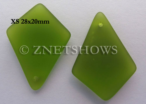 Cultured Sea Glass diamond Pendants  <b>28x20mm</b> 22-Olive earring size  per  <b>12-pc-bag</b>