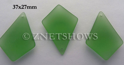 Cultured Sea Glass diamond Pendants  <b>37x27mm</b> 23-Peridot large size   per  <b>8-pc-bag</b>