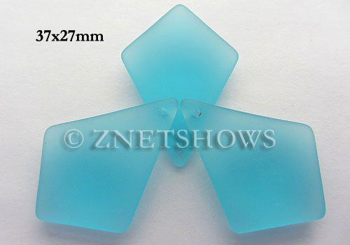 Cultured Sea Glass diamond Pendants  <b>37x27mm</b> 28-Turquoise Bay large size   per  <b>8-pc-bag</b>