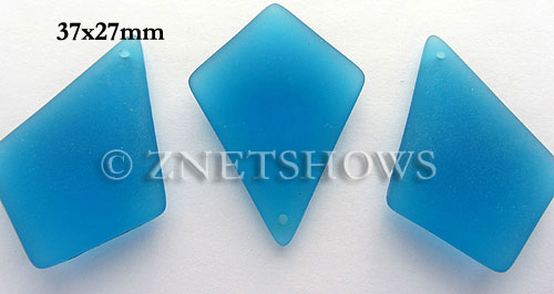 Cultured Sea Glass diamond Pendants  <b>37x27mm</b> 30-Pacific Blue large size   per  <b>8-pc-bag</b>