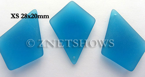 Cultured Sea Glass diamond Pendants  <b>28x20mm</b> 30-Pacific Blue earring size  per  <b>12-pc-bag</b>