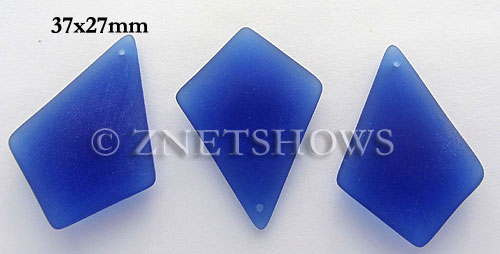 Cultured Sea Glass diamond Pendants  <b>37x27mm</b> 33-Royal Blue large size   per  <b>8-pc-bag</b>