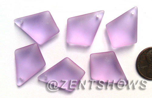 Cultured Sea Glass diamond Pendants  <b>28x20mm</b> 39-Periwinkle Changes earring size  per  <b>12-pc-bag</b>