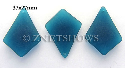 Cultured Sea Glass diamond Pendants  <b>37x27mm</b> 82-Teal large size   per  <b>8-pc-bag</b>