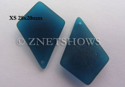 Cultured Sea Glass diamond Pendants  <b>28x20mm</b> 82-Teal earring size  per  <b>12-pc-bag</b>