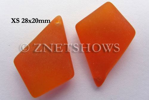 Cultured Sea Glass diamond Pendants  <b>28x20mm</b> 83-Tangerine earring size  per  <b>12-pc-bag</b>