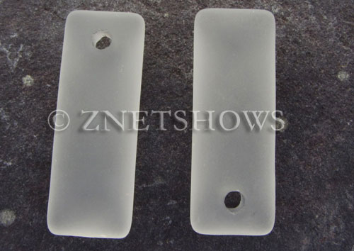 Cultured Sea Glass rectangle puffed Pendants  <b>32x12mm</b> 01-Crystal    per  <b>8-pc-bag</b>