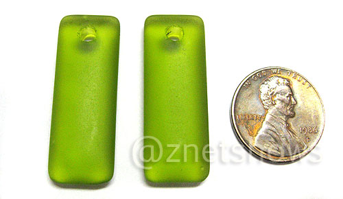 Cultured Sea Glass rectangle puffed Pendants  <b>32x12mm</b> 22-Olive    per  <b>8-pc-bag</b>