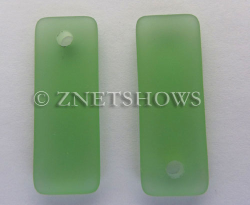 Cultured Sea Glass rectangle puffed Pendants  <b>32x12mm</b> 23-Peridot    per  <b>8-pc-bag</b>